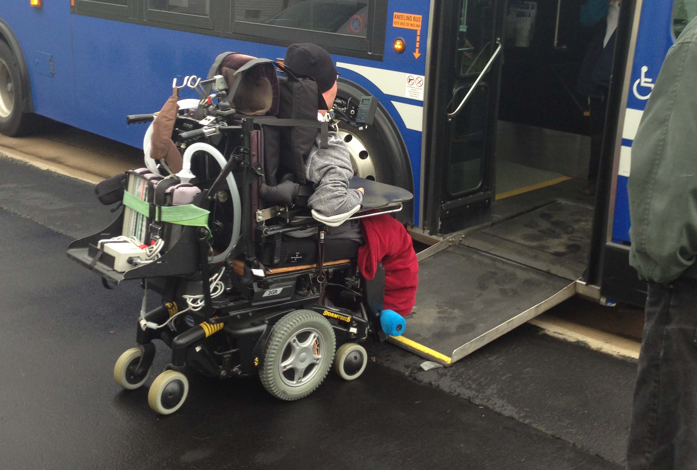 Wheelchair Entering Valley Transit Bus up gentle slope ramp